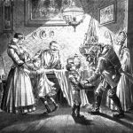 Cartolina raffigurante la visita ad una famiglia da parte di San Nicolò e di un Krampus