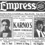 Manifesto pubblicitario per il tour americano con la compagnia di Fred Karno, 1913