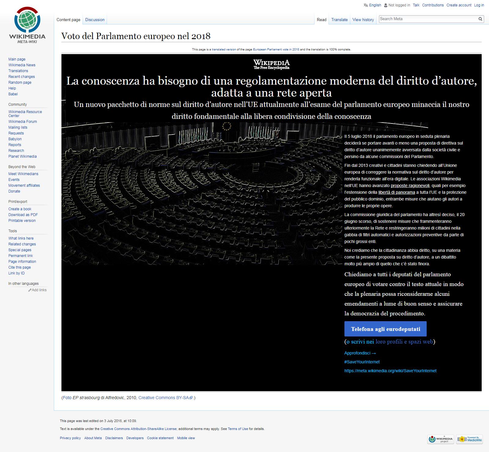 Wikipedia oscurata in polemica con il Parlamento europeo