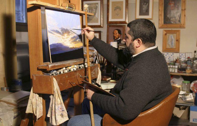Rodolfo Papa nel suo studio pittorico a Roma