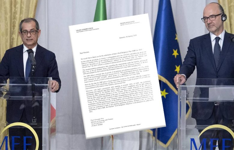 Giovanni Tria e Pierre Moscovici lettera Ue