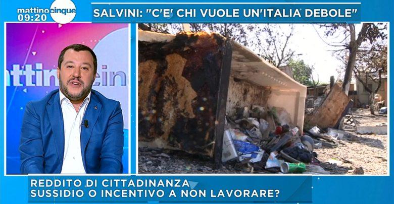 Matteo Salvini Mattino cinque reddito di cittadinanza ai rom italiani