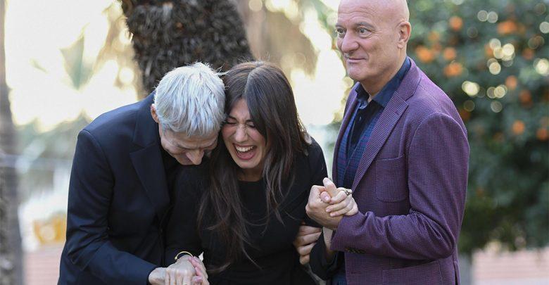 Claudio Baglioni, Virginia Raffaele e Claudio Bisio durante la conferenza stampa di presentazione del 69esimo Festival di Sanremo, 9 gennaio 2019