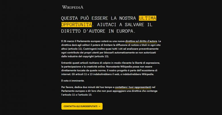 Photo of Copyright, Wikipedia Italia oscurata per protesta