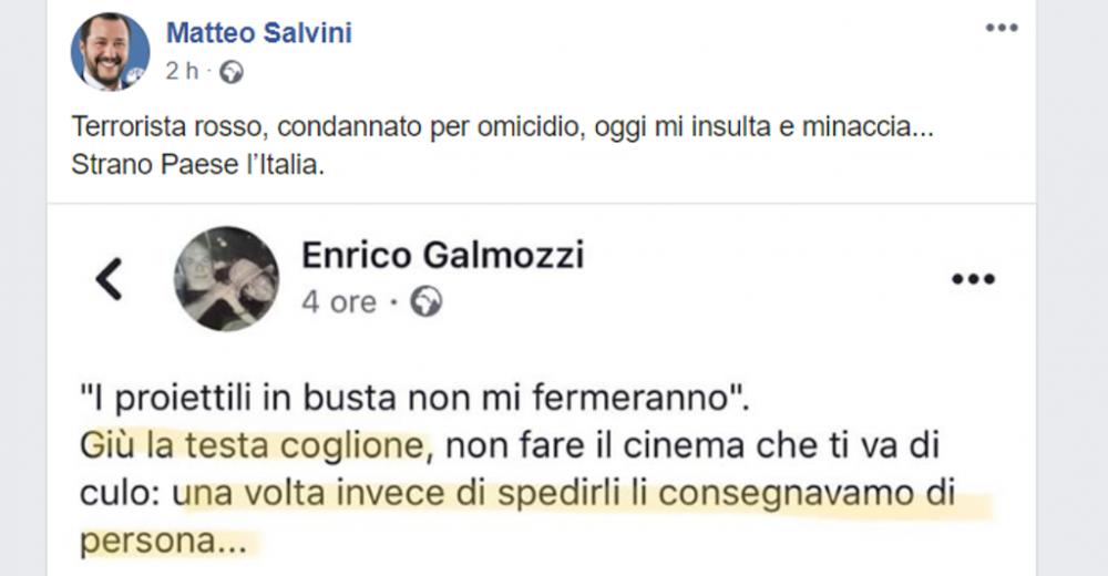 Chi è l'ex terrorista Galmozzi che minaccia Salvini