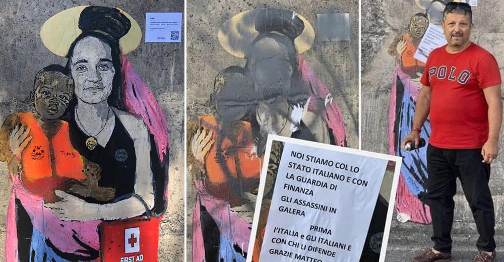 Danneggiato da un esponente leghista il murale dedicato a Carola Rackete